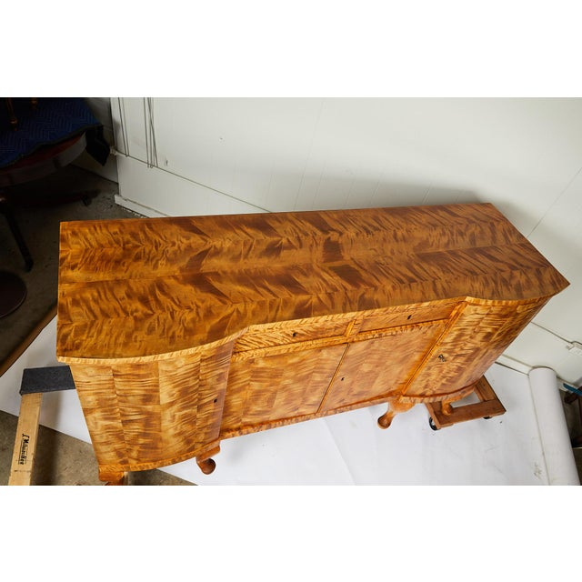 Swedish Art Deco Sideboard of Bookmatched Golden Flame Birch For Sale - Image 12 of 13