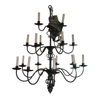 French Three Tier Ironware Chandelier