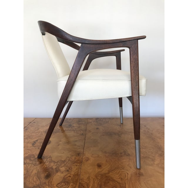 Mid-Century Modern 1950s Sculptural Mid-Century Modern Walnut Occasional Armchair Attributed to Gio Ponti Edward Wormley Home Office For Sale - Image 3 of 13