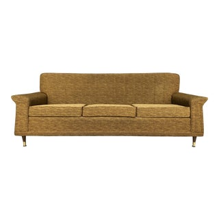 Mid-Century Modern Gold Winged Tufted Three Seat Sofa by Mastercraft