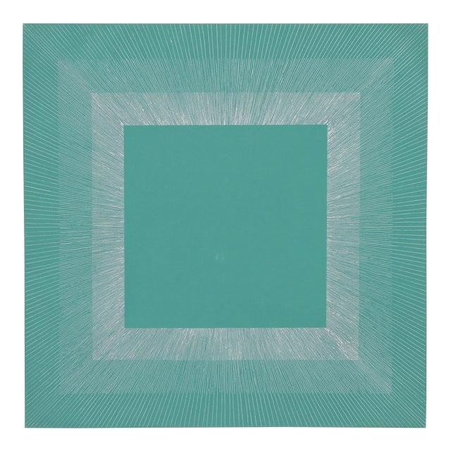 "Richard Anuszkiewicz, ""Winter Suite"" (Green & Silver), Op Art Etching For Sale"