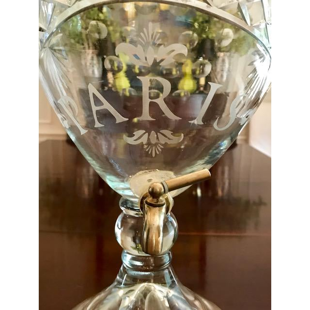 """French Cut Glass """"Paris"""" Beverage Dispenser For Sale - Image 3 of 9"""