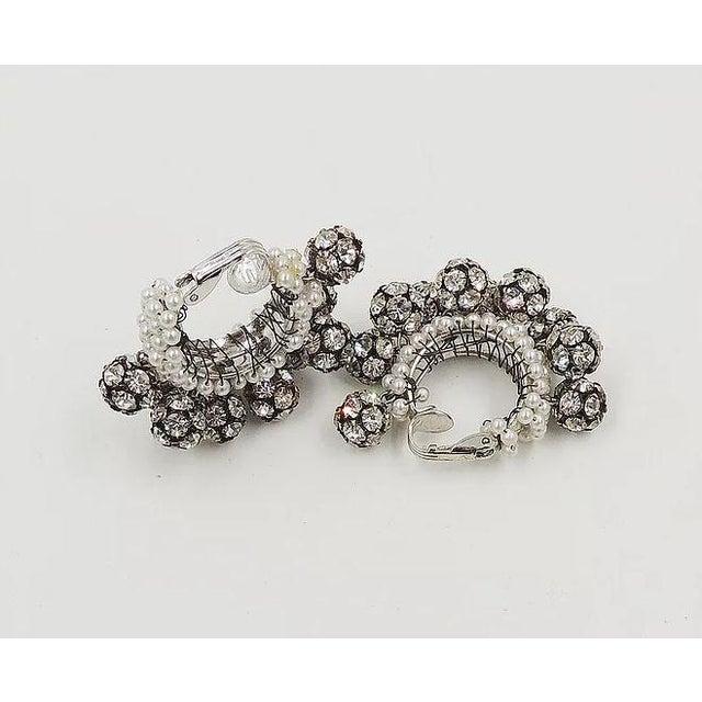 1960s Rhinestone & Faux-Pearl Earrings For Sale - Image 10 of 12