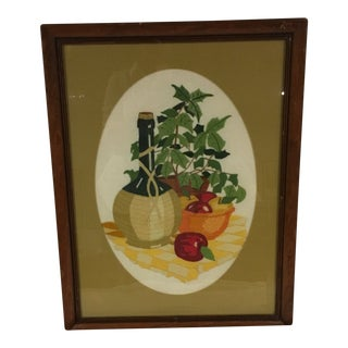 Mid-Century Crewel Needlework Art Wine Bottle With Apple Still Life For Sale