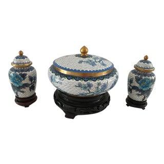 1950s Cloisonné Ginger Jars and Lidded Bowl - Set of 3 For Sale