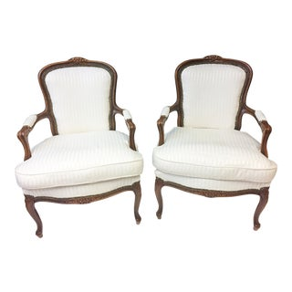 Vintage French Style Bergere Chairs - A Pair