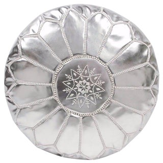 Embroidered Faux Metallic Leather Pouf, Silver on Silver For Sale