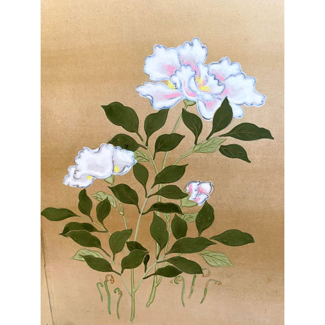 19th Century Japanese Byobu 6-Panel Table Screen With Summer Flowers For Sale - Image 4 of 13