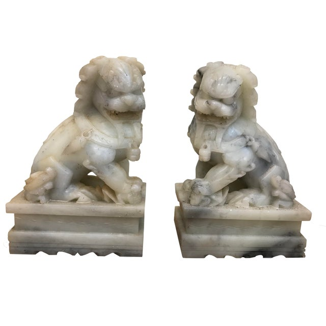 Late 19th Century Late 19th Century Chinese Export Marble Foo Lions - a Pair For Sale - Image 5 of 5