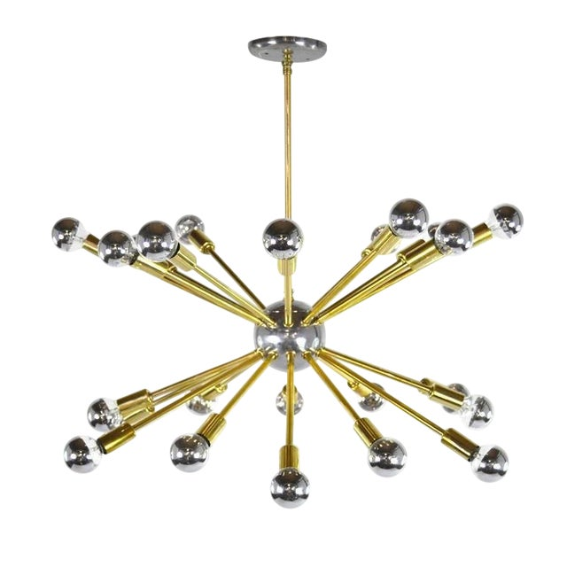 Vintage Chrome and Brass Sputnik Chandelier For Sale