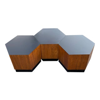 Mid Century Modern Hexagon Walnut Table Set - 3 Pieces For Sale