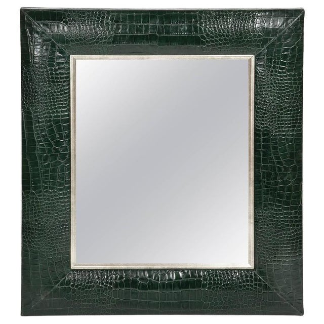2010s Hunter Green Classic Crocodile Leather Framed Mirror For Sale - Image 5 of 5