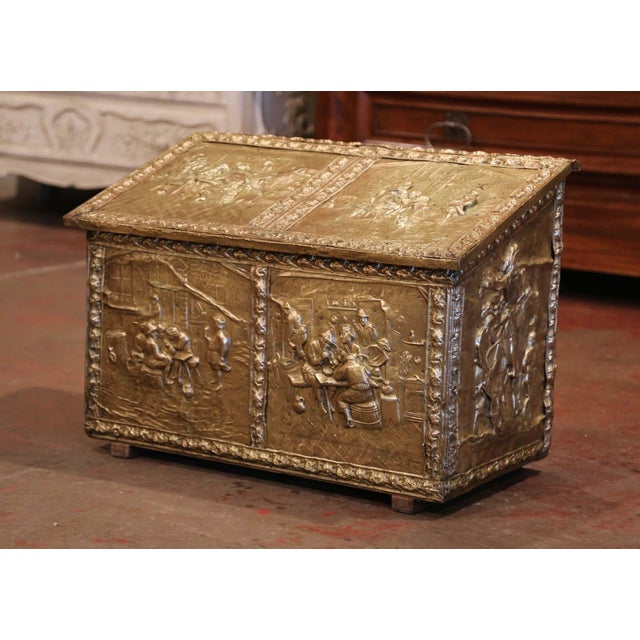 19th Century French Repousse Copper and Wood Box With Tavern Scenes For Sale - Image 4 of 8