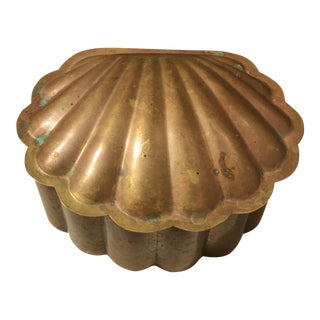 Midcentury Brass Shell Scallop Shaped Trinket Box With Heavy Patina For Sale