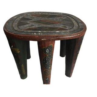 "Superb African Lg Nupe Stool Nigeria 15.5"" H by 18.75"" W For Sale"