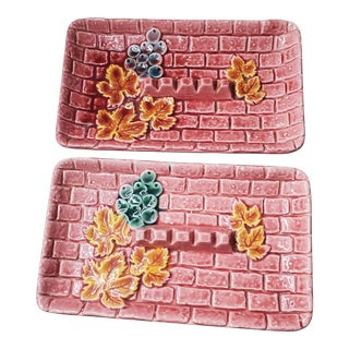 1950s Pink Ceramic Ashtrays - a Pair For Sale