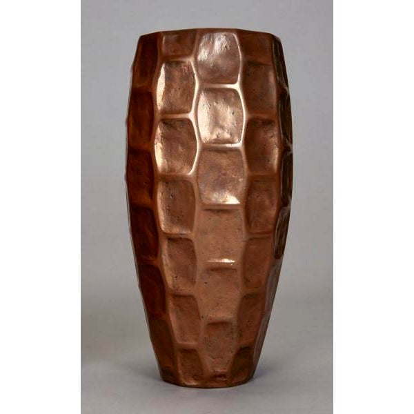Pair Tall Mid-Century Textured Fiberglass Floor Vases With Bronze Overlay - Image 3 of 5