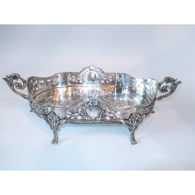 Art Nouveau Jardiniere Style Tray Silver Plate Ornate - Image 7 of 7