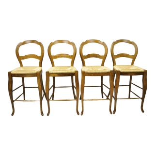French Country Italian Pottery Barn Rush Seat Solid Wood Barstools - Set of 4 For Sale