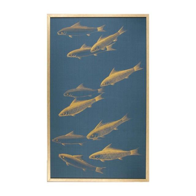 Japonisme Framed Vintage Gold Painting on Blue Silk Framed. For Sale In Los Angeles - Image 6 of 6