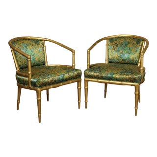 Hollywood Regency Faux Bamboo Mid Century Gilt Wood Barrel Back Armchairs - a Pair For Sale