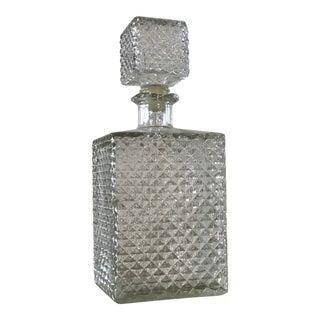 Vintage Diamond Point Glass Decanter For Sale