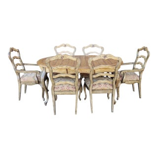 Contemporary Country Painted Grape Motif Dining Room Table W/ 6 Chairs 1990s For Sale