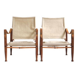 1960s Kaare Klint Canvas Safari Chairs - a Pair For Sale