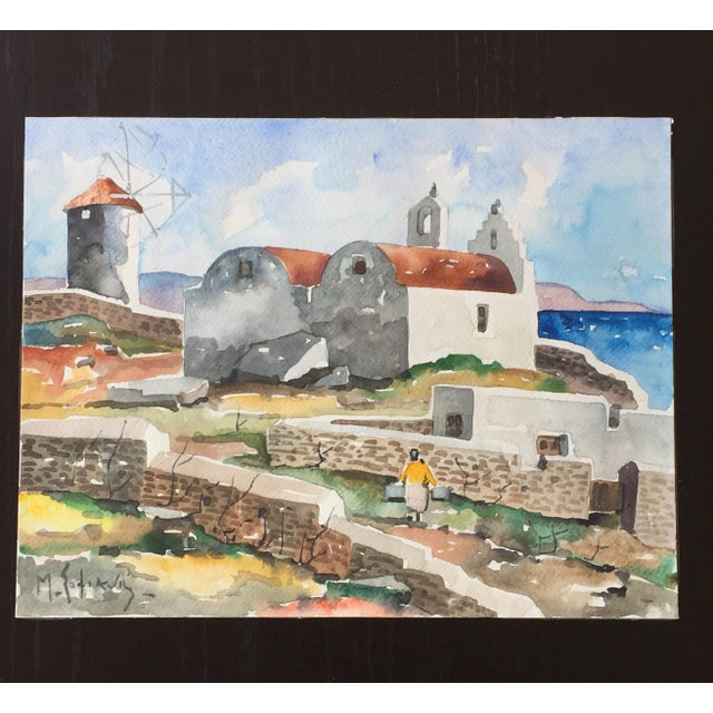 In this beautiful Expressionist view of the Mykonos windmills, Manos Sofianos (1922-1986) skillfully uses bold and...