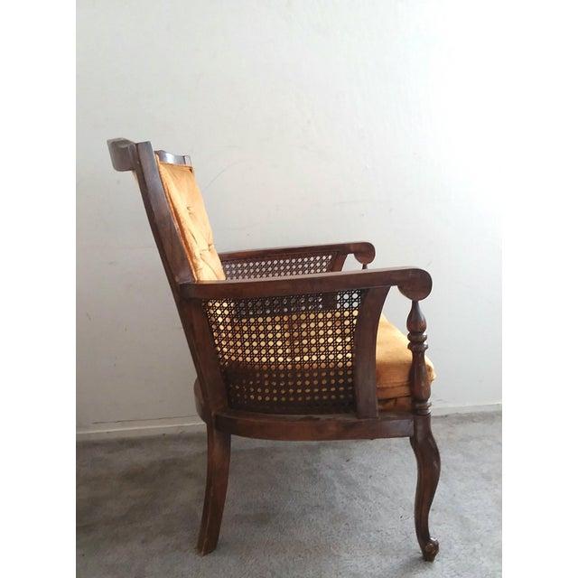 French Provincial 1970's Vintage Hollywood Regency Orange Velvet Wing Chair For Sale - Image 3 of 7