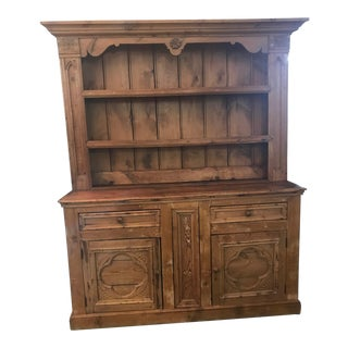 1840's Antique English Pine Hutch Cabinet For Sale