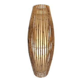 Tall Italian Mid-Century Bamboo and Rattan Floor Lamp For Sale