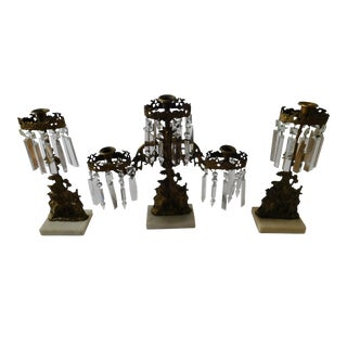 Antique Victorian Bronze Girandole Candelabras - Set of 3