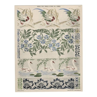 1910 Art Nouveau Pochoir Lithograph-Botanical Design With Swans, Roosters, Matted For Sale