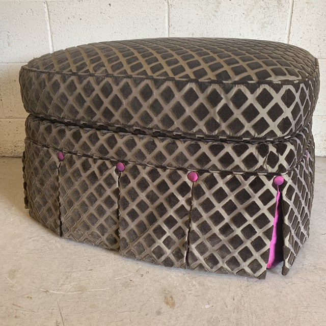Chocolate Laser Cut Velvet and Pink Satin Ottoman For Sale - Image 11 of 11