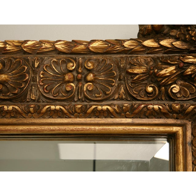 Brown Floor-Size 19th Century English Traditional Giltwood Reproduction Mirror For Sale - Image 8 of 9