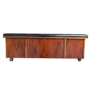 Mid Century Cushion Top Walnut Blanket Bench Chest by Lane For Sale