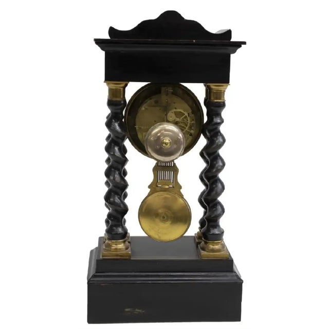 French Antique French Napoleon III Period Vincenti Et Cie Ebonized Portico Mantle Clock For Sale - Image 3 of 5