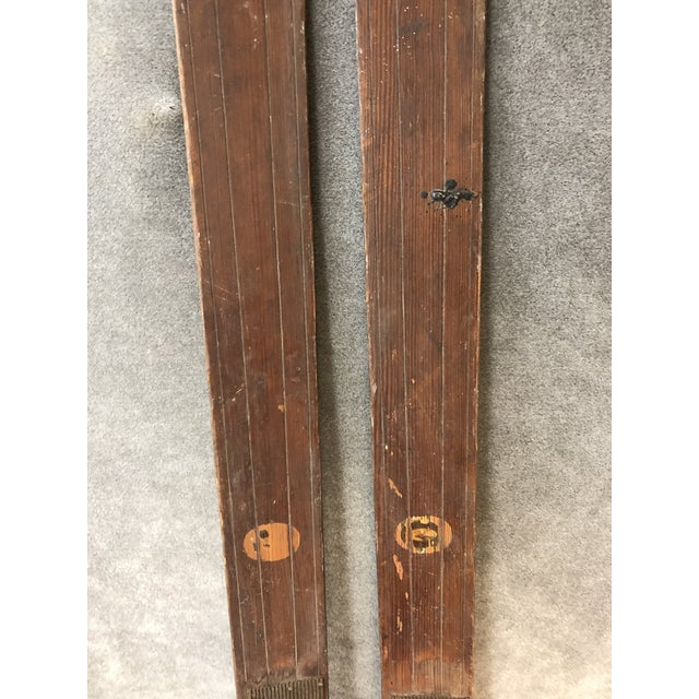 Vintage Rustic Wood Skis - a Pair For Sale - Image 4 of 13