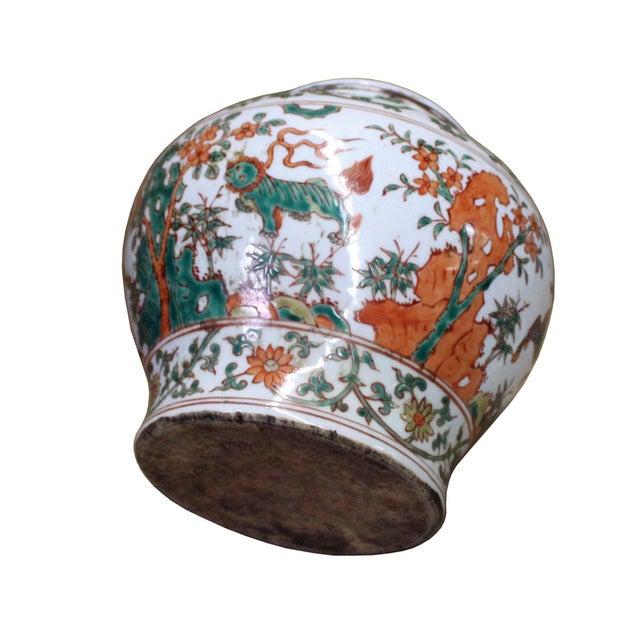 2010s Chinese Handmade Multi-Color Flower Kirin Porcelain Pot Jar For Sale - Image 5 of 8