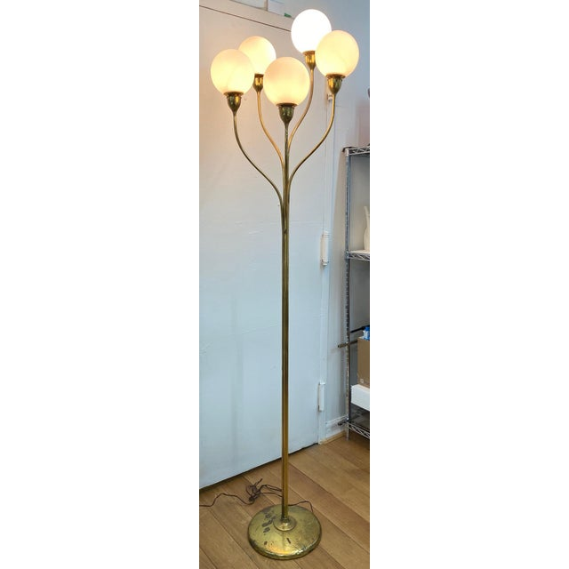 Featuring beautiful graceful curves, this statuesque piece has recently been rewired, and new frosted glass globes have...