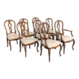 1980s Louis XV French Walnut Dining Chairs by Thomasville - Set of 8 For Sale