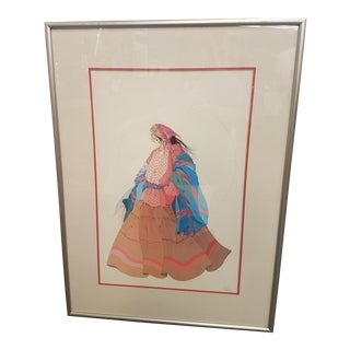 1970's Diane O'Leary Serigraph Strolling Lady Print For Sale
