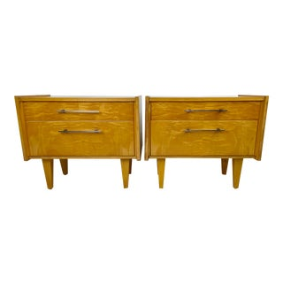 Mid-Century Tiger Maple German Night-Stands - a Pair For Sale