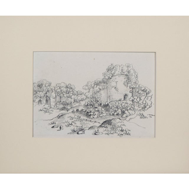 19th Century antique English landscape drawing of castle ruins in cream colored matting and a bronze toned gilt wood...