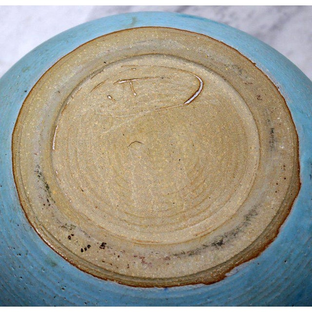 Mid-Century Modern Signed j.t. Abernathy Blue Glazed Ceramic Pot, 1960s For Sale In Detroit - Image 6 of 8