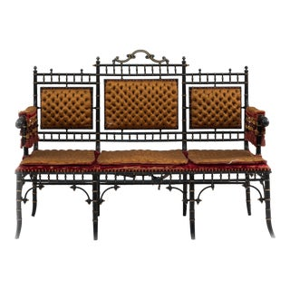 French Victorian Gold Tufted Settee For Sale