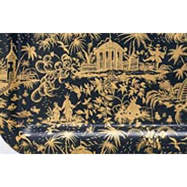 Piero Fornasetti Large Piccolo Coromandel Tray, 1950s. The beautiful Piero Fornasetti large dark ground tray is...