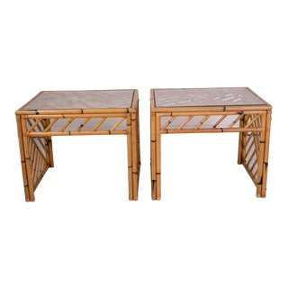 1950s Bamboo Fretwork Side Tables - a Pair For Sale