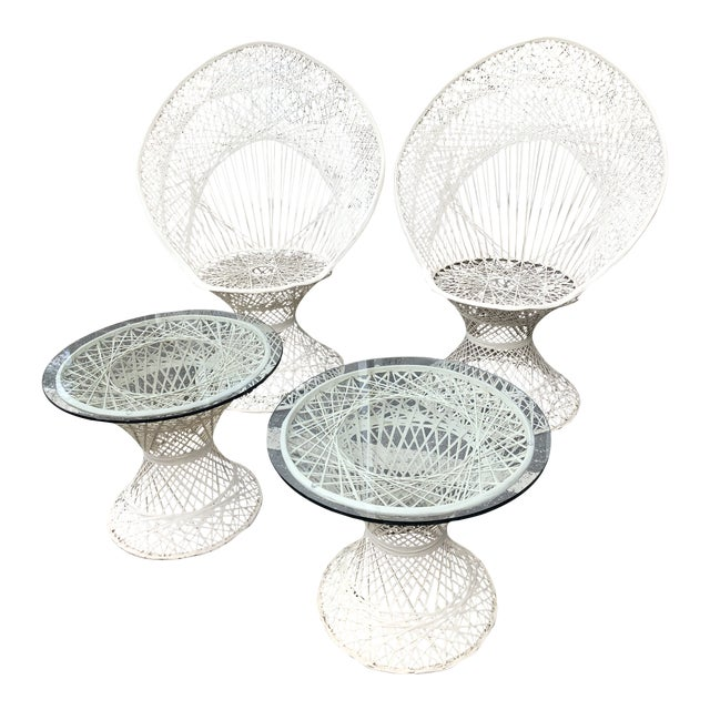 Russell Woodard Peacock Chairs & Glass Top Side Tables - Set of 4 For Sale